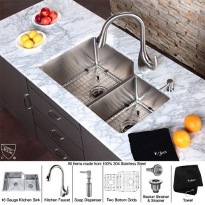 Kraus KHU123-32-KPF2170-SD20 Kitchen Sink Sets