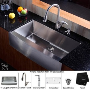 Kraus KHF200-36-KPF2120-SD20 Kitchen Sink Sets