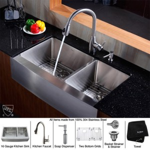 Kraus KHF203-36-KPF2130-SD20 Kitchen Sink Sets