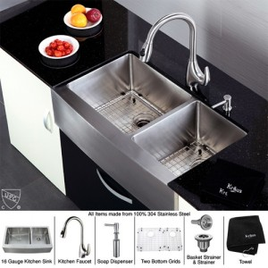 Kraus KHF203-36-KPF2170-SD20 Kitchen Sink Sets