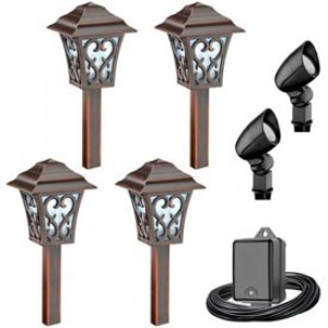 Malibu lighting 8400 9906 06 malibu landscape lighting low malibu lighting 8400 9906 06 malibu landscape lighting low voltage led path flood light kit tarnished copper black 6 pack aloadofball Image collections