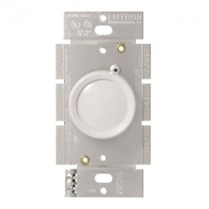 Lutron D-600R-WH Dimmer Switch, 600W 1-Pole Incandescent Rotary Dimmer on