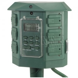 Digital Outdoor Light Timer Ge 15144 6 outlets heavy duty digital outdoor stake timer green workwithnaturefo