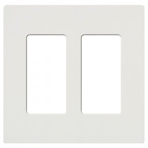Lutron CW-2-WH Screwless Wall Plate, 2-Gang