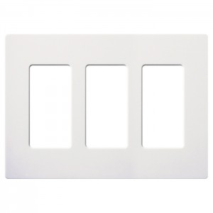 Lutron Cw 3 Wh Screwless Wall Plate Claro 3 Gang