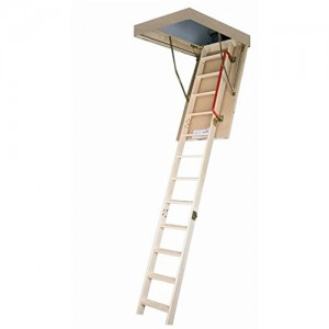 Fakro 66854 Attic Ladder, LWS PL Series 54 In. X 25 In. 10 Ft. 9 In. Wooden  Insulated   300 Lbs. Load Capacity