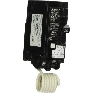 Murray MP120GFA 20-Amp Single-Pole GFCI Circuit Breaker - w/ Self Test,  Lockout