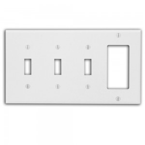 Leviton P326-W Comb Wall Plate 4-Gang -3 Toggle -1 Decora Thermoset White  sc 1 st  Westside Wholesale & Leviton P326-W Comb Wall Plate 4-Gang -3 Toggle -1 Decora ...