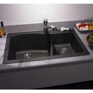 swanstone qzls 3322 double kitchen sink 33x22 nero - Double Kitchen Sink