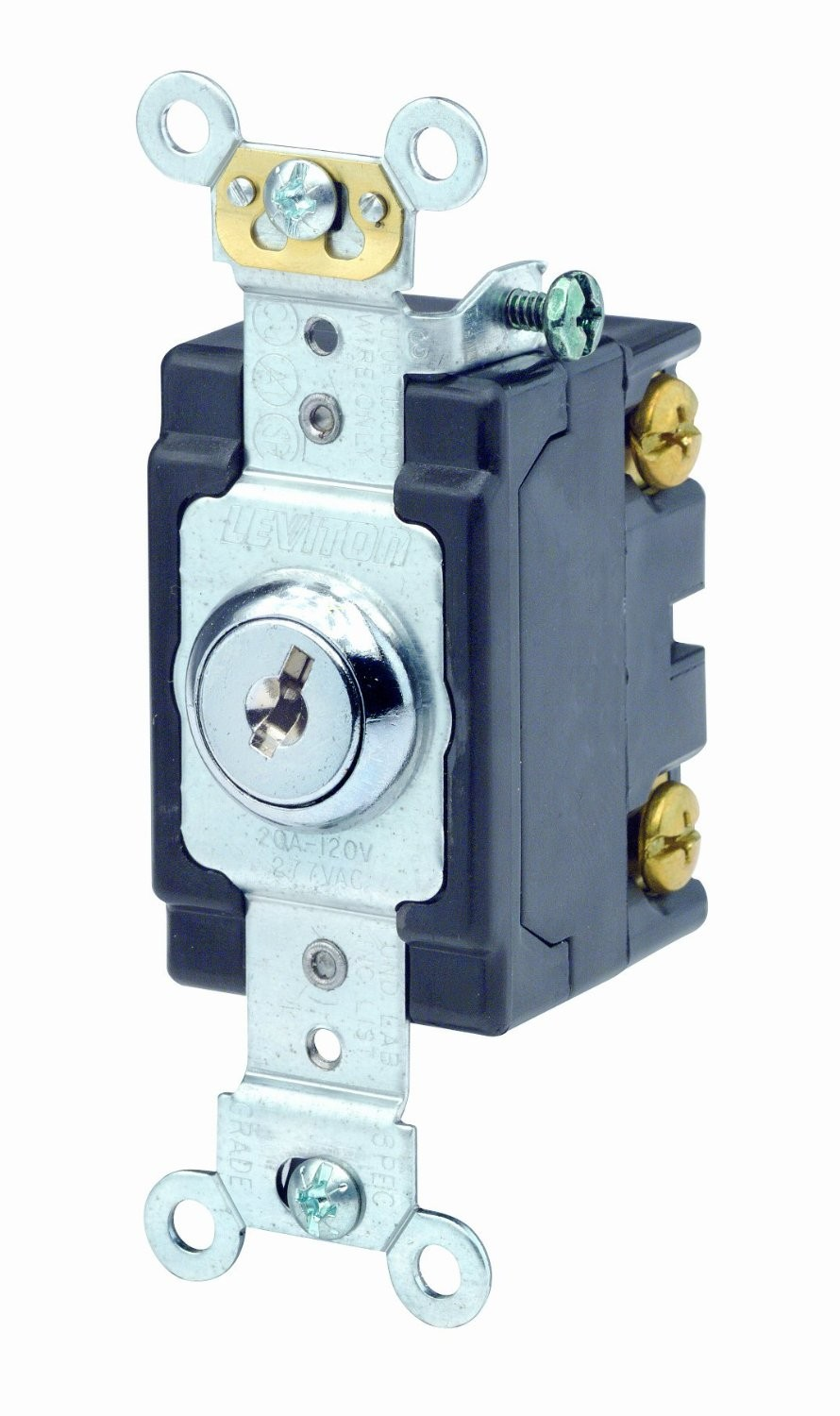 Leviton 1221 2kl Single Pole Key Lock Power Switch 20a 120 277v Cooper Wiring Quiet Toggle Lighted 15 A V Ivory Nickel Plated