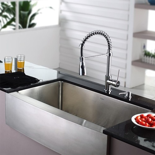 Kraus KHF200-36-KPF1612-KSD30CH 36 inch Farmhouse Single Bowl Stainless  Steel Kitchen Sink with Chrome Kitchen Faucet and Soap Dispenser