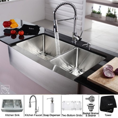Kraus Khf203 36 Kpf1612 Ksd30ch 36 Inch Farmhouse Double Bowl Stainless Steel Kitchen Sink With Chrome Kitchen Faucet And Soap Dispenser