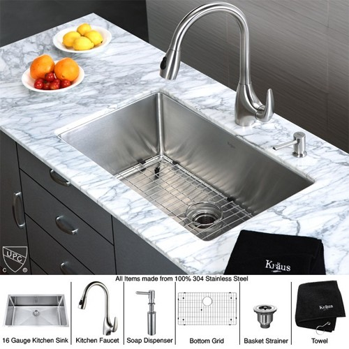 Kraus Khu100 30 Kpf2170 Sd20 30 Inch Undermount Single Bowl Stainless Steel Kitchen Sink With Kitchen Faucet And Soap Dispenser