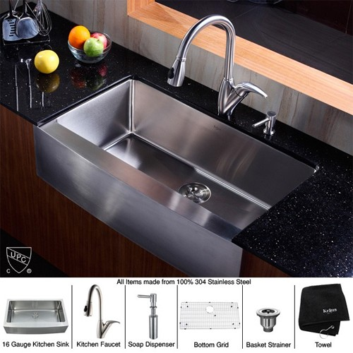 Kraus KHF200-36-KPF2120-SD20 36 inch Farmhouse Single Bowl Stainless Steel  Kitchen Sink with Kitchen Faucet and Soap Dispenser