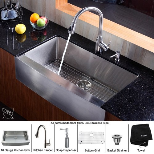 Kraus Khf200 36 Kpf2130 Sd20 36 Inch Farmhouse Single Bowl Stainless Steel Kitchen Sink With Kitchen Faucet And Soap Dispenser