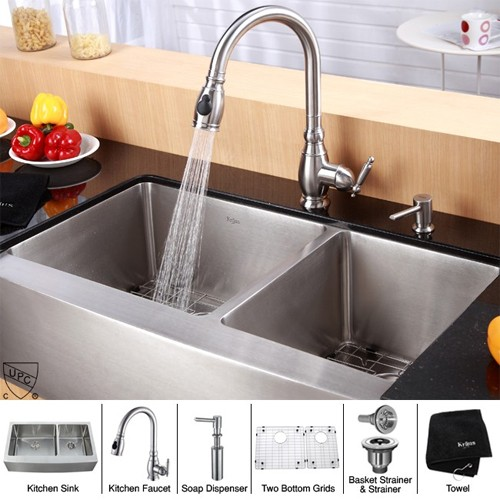 Kraus KHF203-36-KPF2150-SD20 36 inch Farmhouse Double Bowl Stainless Steel  Kitchen Sink with Kitchen Faucet and Soap Dispenser