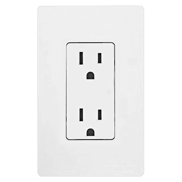 Lutron CAR-15-WH Electrical Outlet, 15A Claro Decorator Receptacle ...