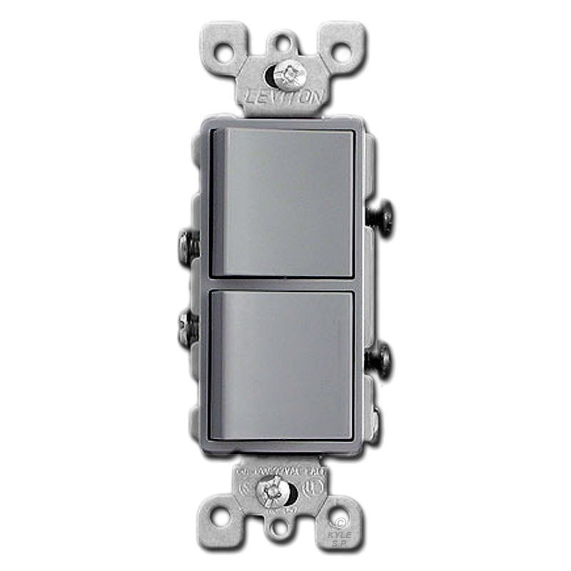 Relatively Leviton 5634-GY Light Switch, Decora Combination Switch, Double  EN89