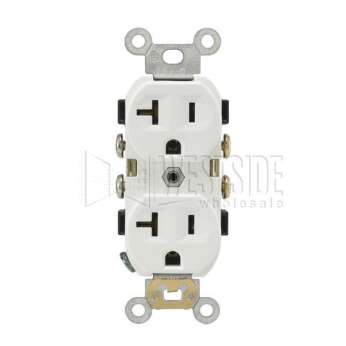 Leviton cr20 w electrical outlet duplex receptacle 20a commercial leviton cr20 w electrical outlet duplex receptacle 20a commercial grade with self grounding clip white publicscrutiny Image collections