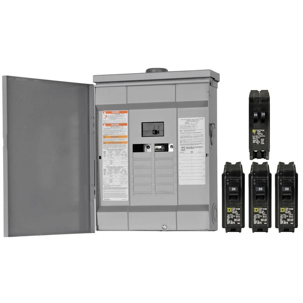 Square D Hom816m125rbvp Homeline 125 Amp 8 Space 16 Circuit Outdoor 8circuit Singlephase Main Lug Breaker Panel Load Center Value Pack