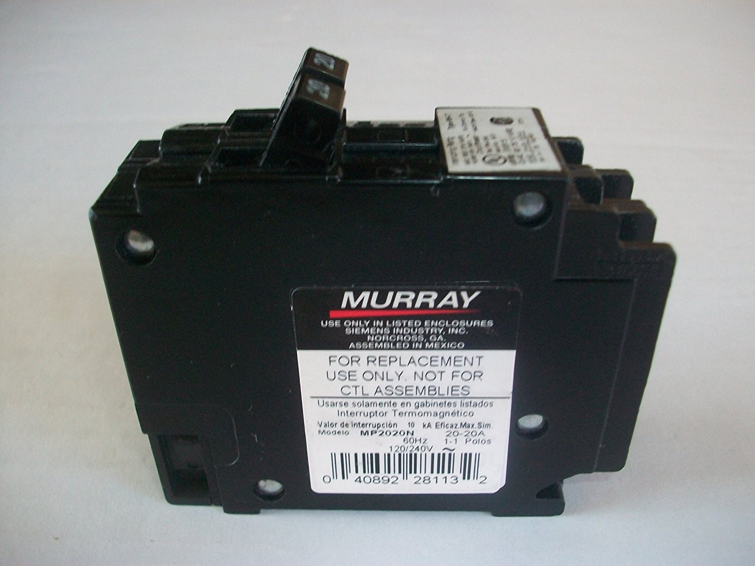 Murray Mp2020n 20 Amp Duplex Type Mh T Single Pole Circuit Breaker 2 In Doublepole Gfci 120v