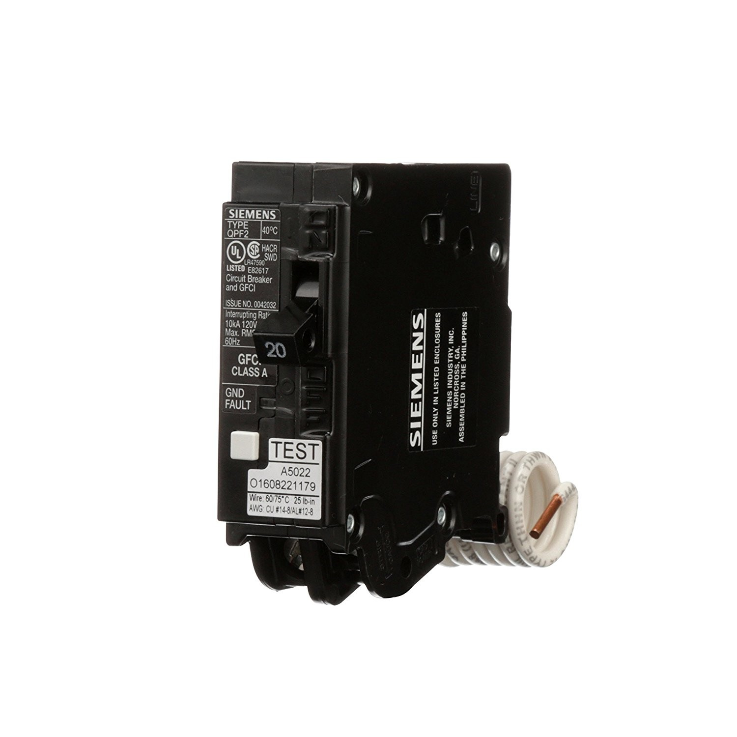 Siemens Qf120a 20 Amp Single Pole Gfci Circuit Breaker 120v