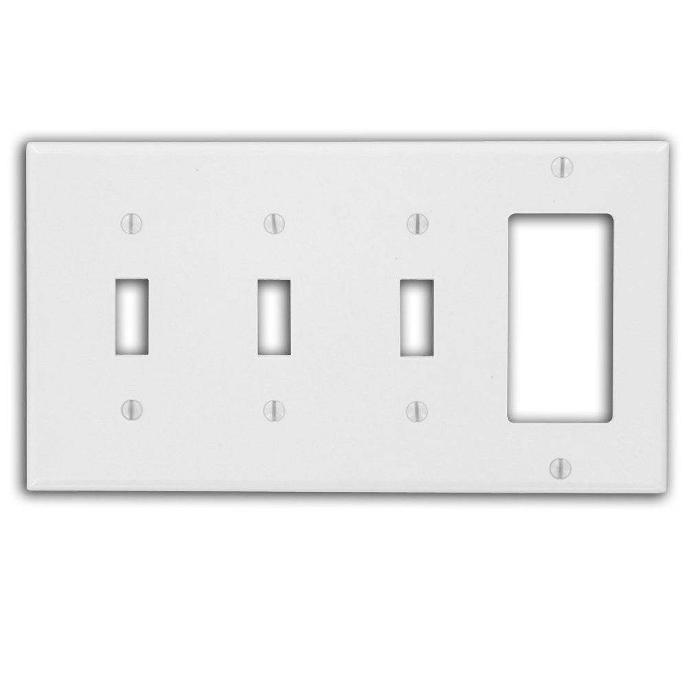 Leviton P326-W Comb Wall Plate, 4-Gang, -3 Toggle, -1 Decora ...