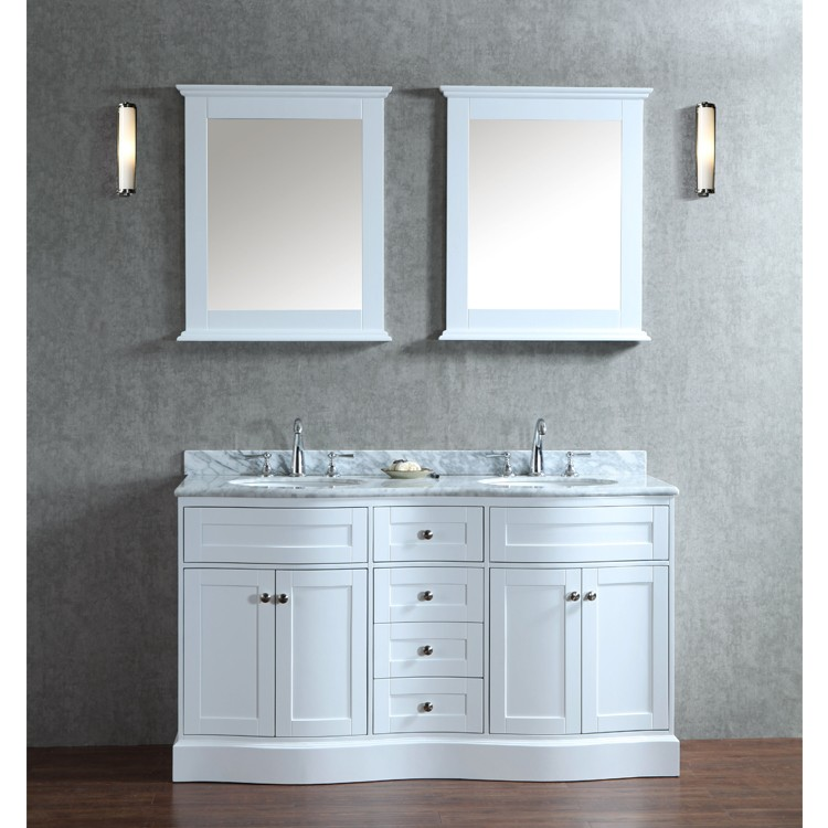 ariel bath scmon60swh by seacliff designs bathroom vanity 60 montauk double sink w mirror alpine white - Double Sink Bathroom Vanities