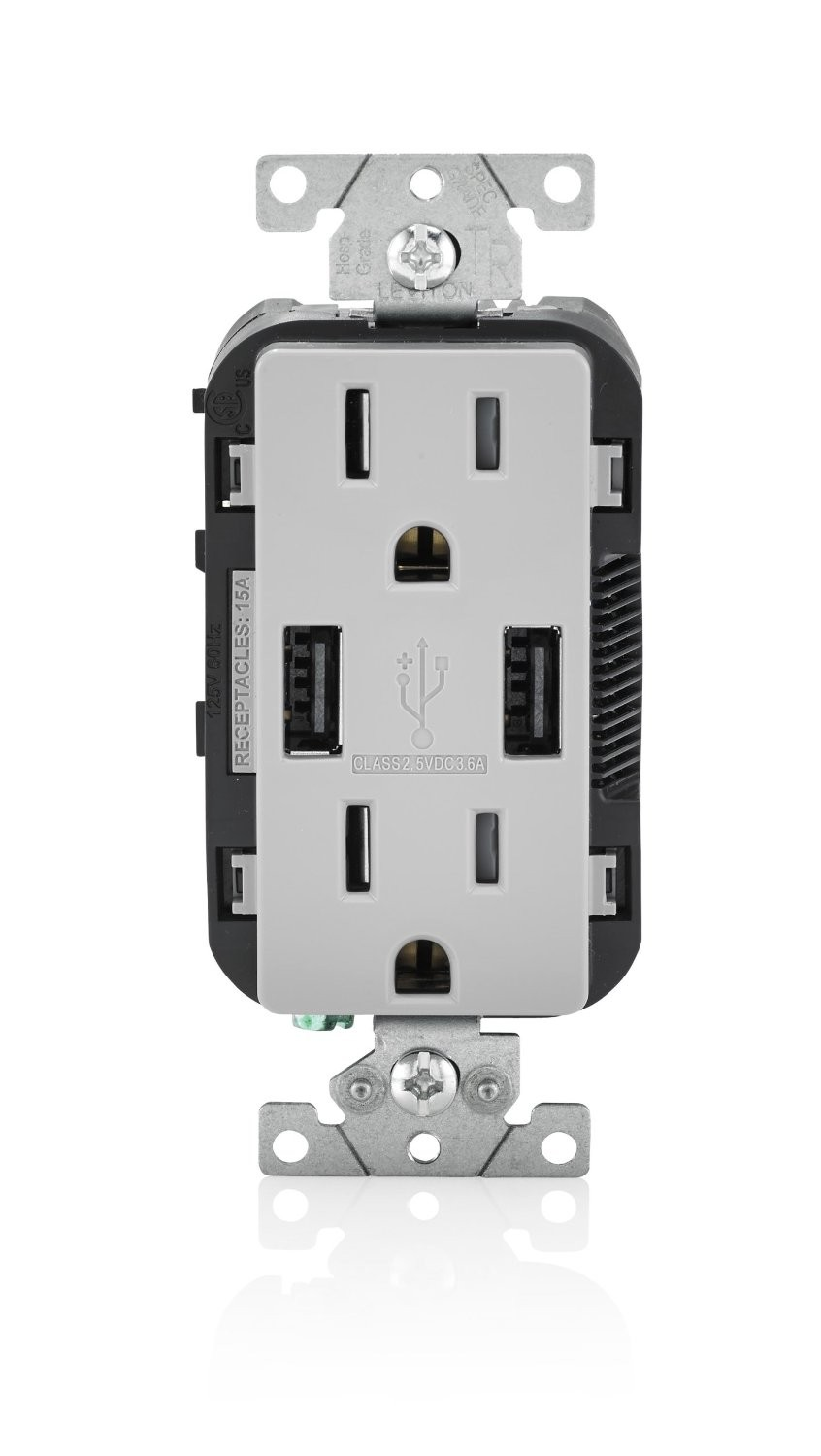 Leviton T5632-GY Electrical Outlet, 15A 125V Duplex Tamper-Resistant ...